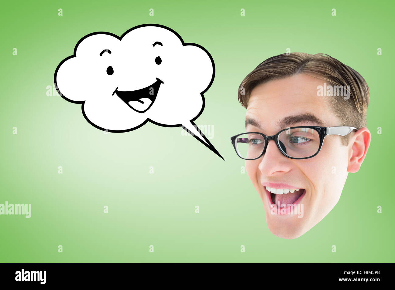 Composite image of nerd smiling - Stock Image