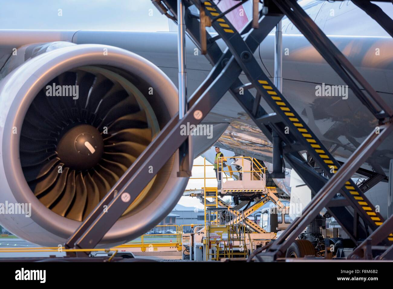 Detail of jet engine of A380 aircraft at airport - Stock Image