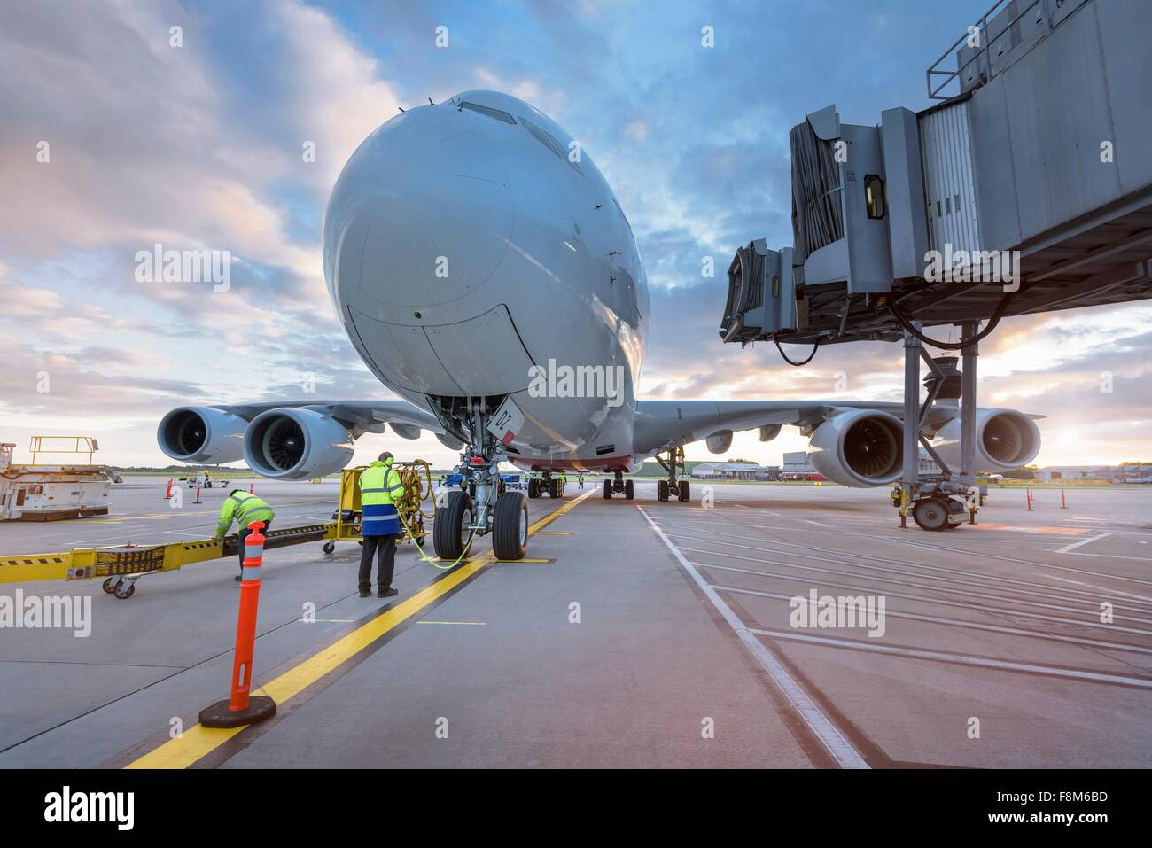 A380 aircraft on stand at airport Stock Photo