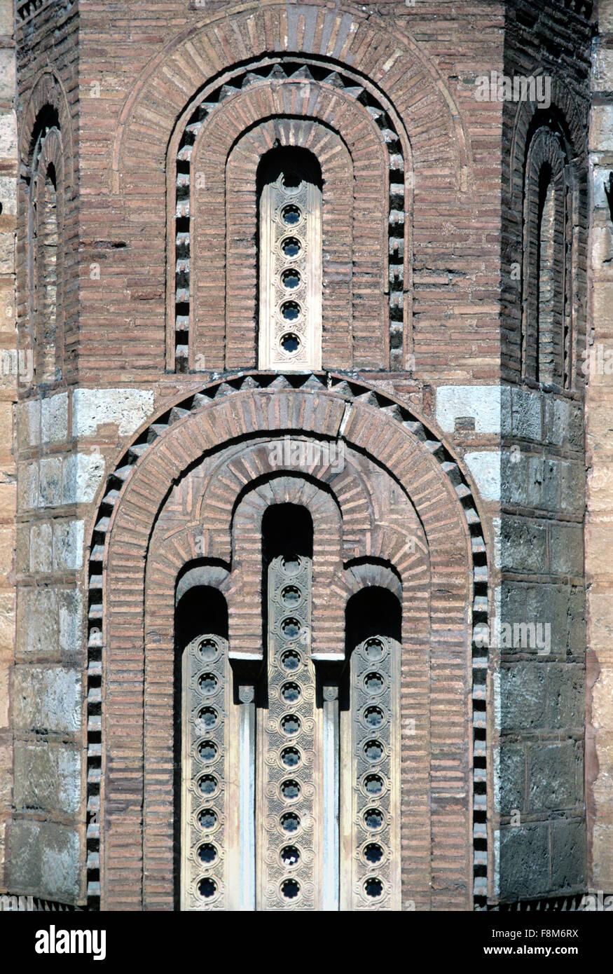 Byzantine Brickwork and Windows of the Main Byzantine Church (Katholicon or Catholicon) of Daphni Monastery or Dafni - Stock Image