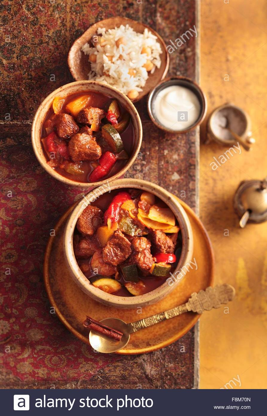 Turkish lamb and vegetable stew with chickpea rice - Stock Image