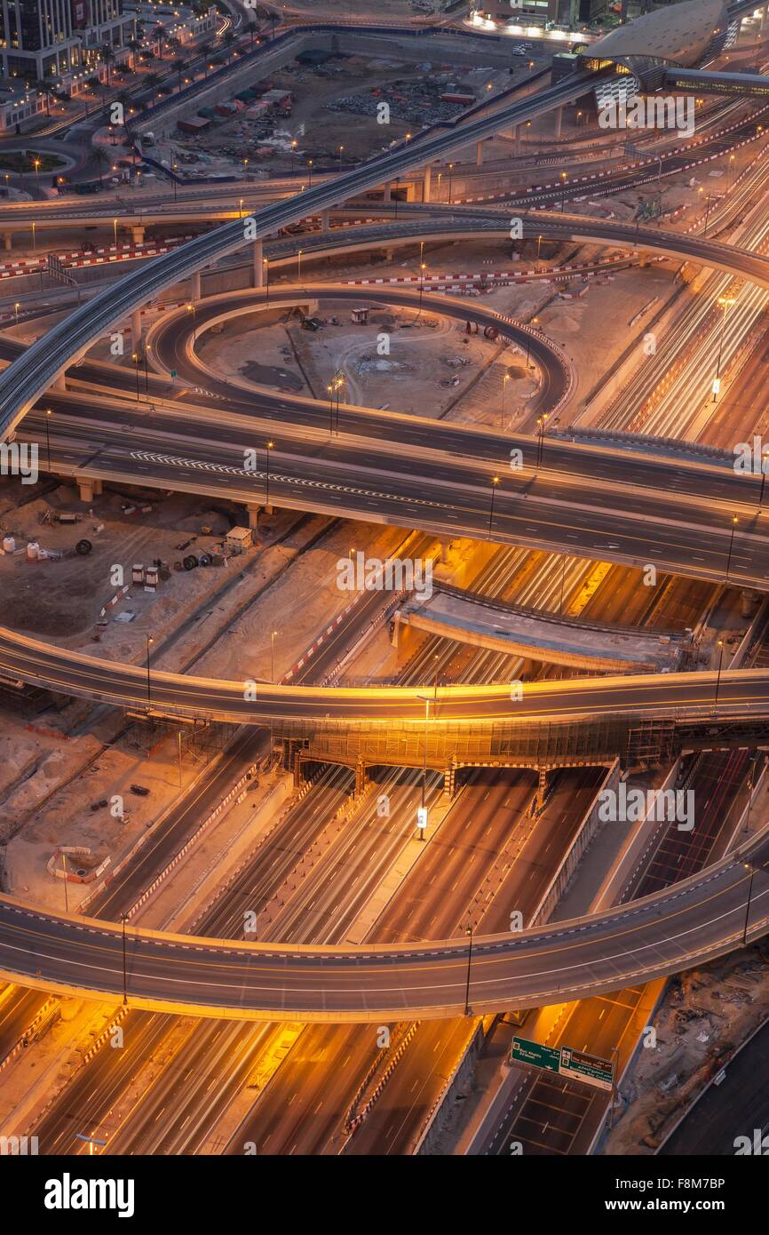 City highways and flyovers at night, downtown Dubai, United Arab Emirates - Stock Image