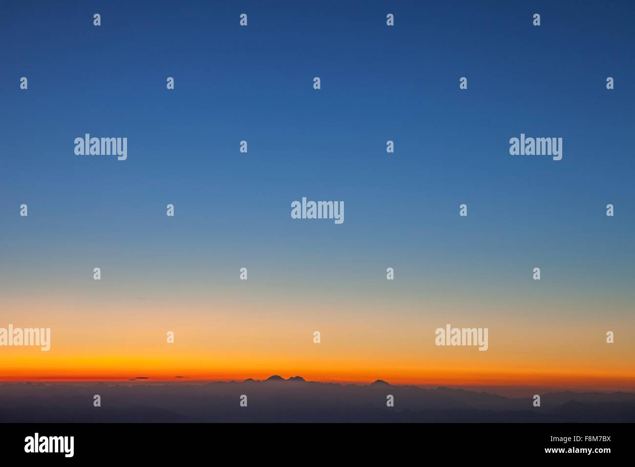 Sunrise over the Alps, Zermatt, Canton Wallis, Switzerland - Stock Image