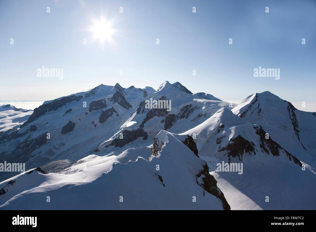 Swiss Alps in winter, Canton Wallis, Switzerland - Stock Image