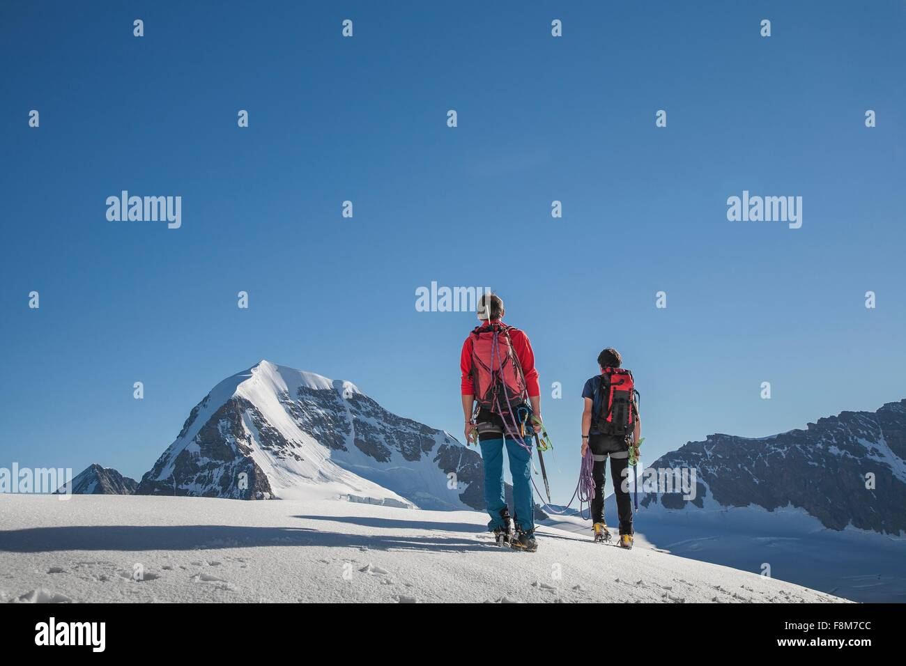 Rear view of two male climbers moving up, Canton Bern, Switzerland - Stock Image