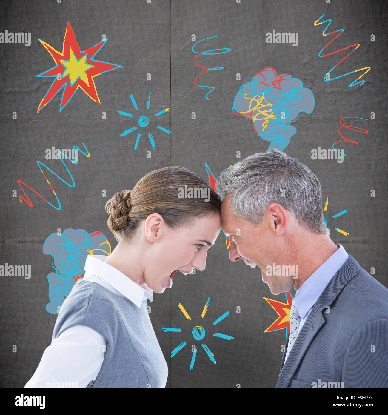 Composite image of business people yelling at each other over white background - Stock Image