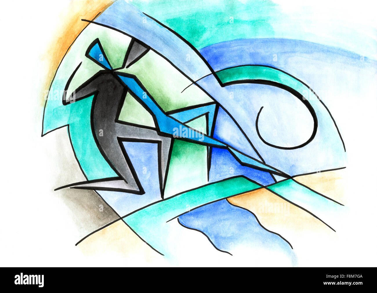 Abstract Artwork With Dancing Couple On Modern Background