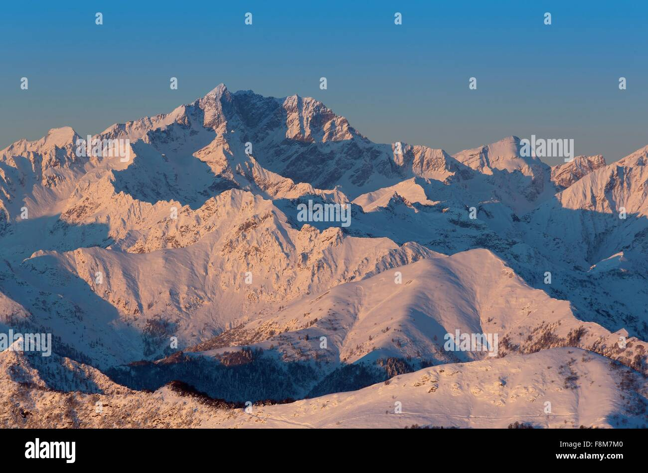 View of sunrise over Monte Rosa, Piedmont, Italy - Stock Image