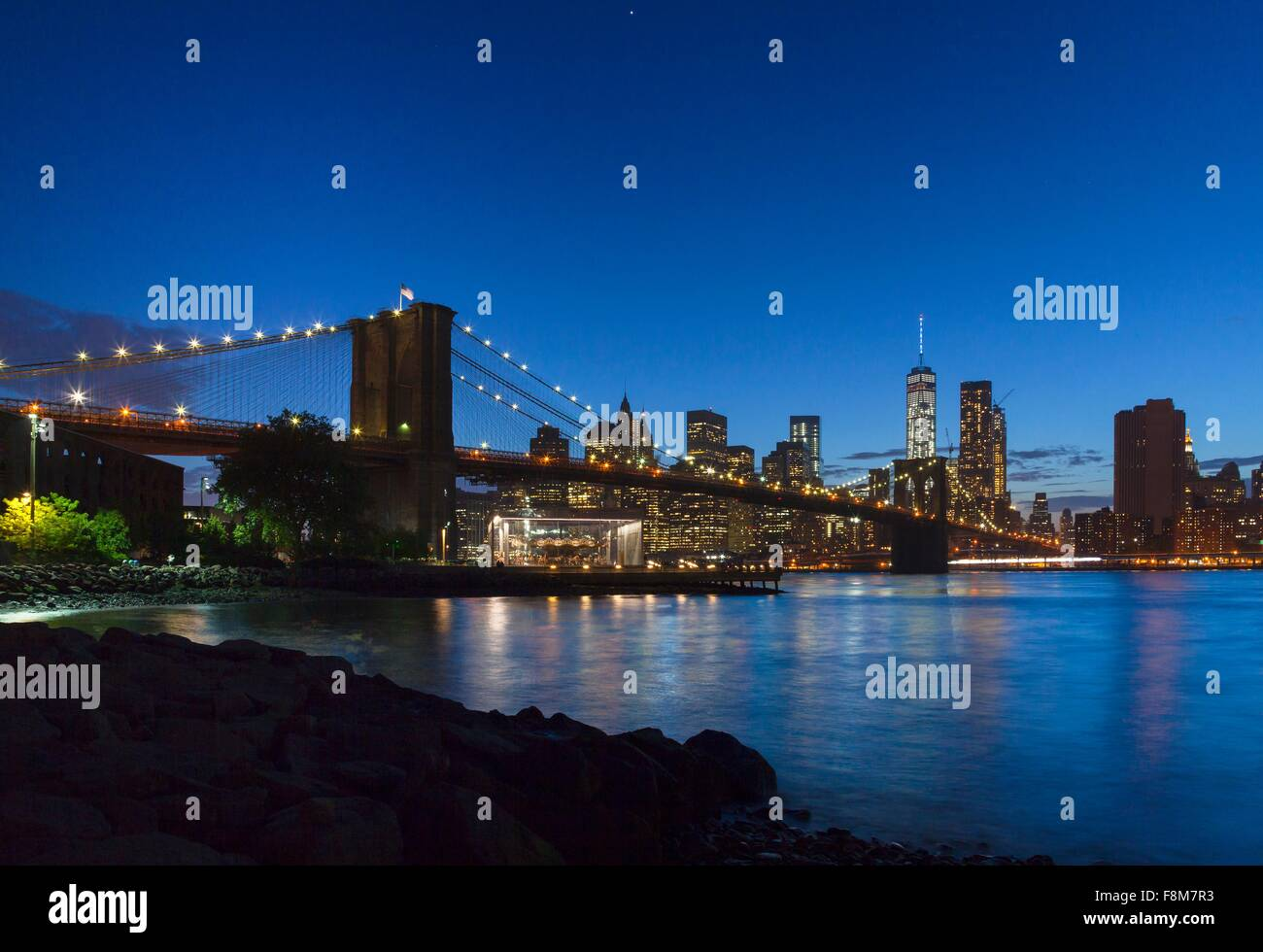 Manhattan financial district and Brooklyn bridge at night, New York, USA - Stock Image