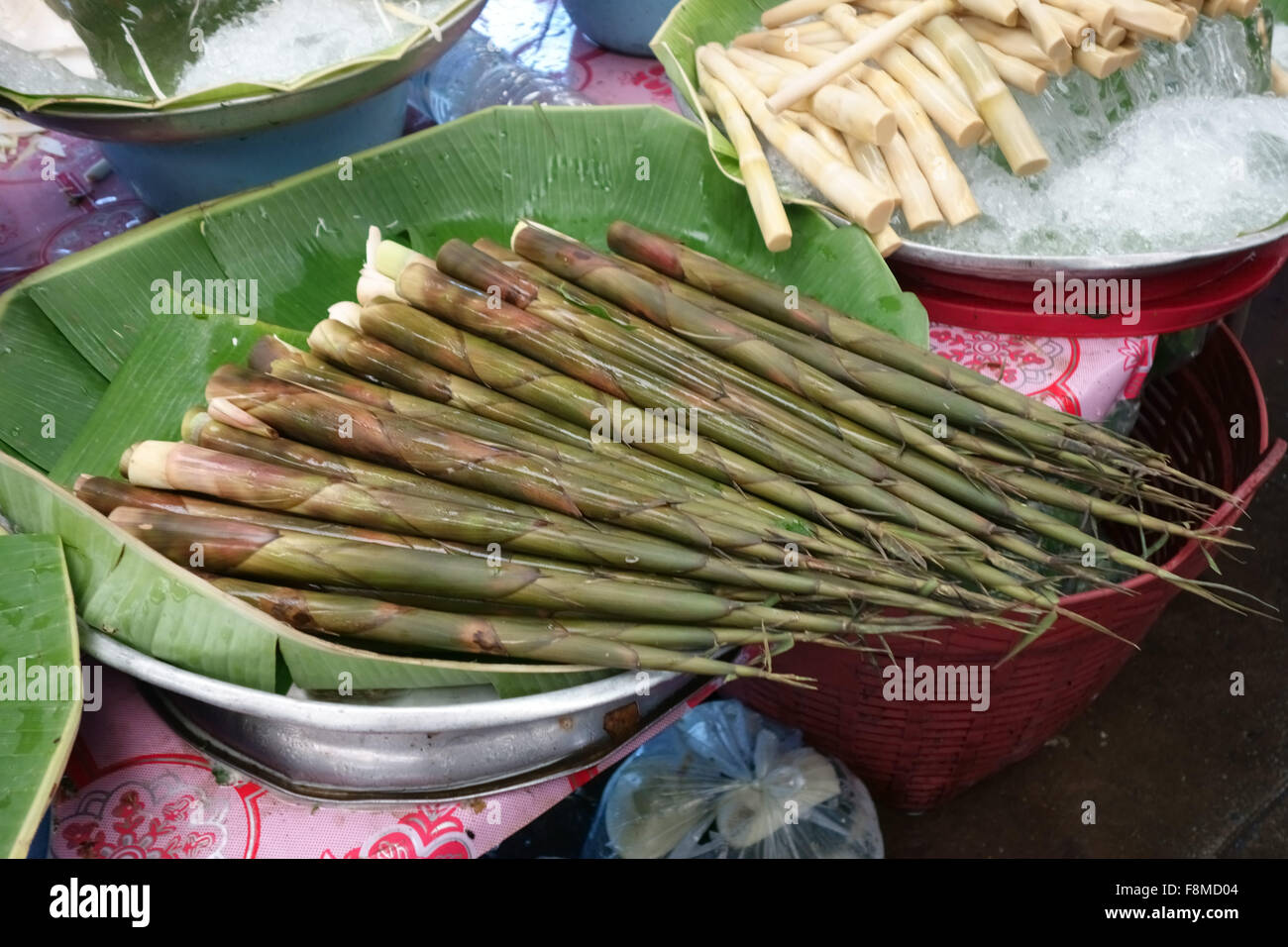 Bamboo shoots prepared for sale in a covered market in ther centre of Bangkok, Thailand, February - Stock Image