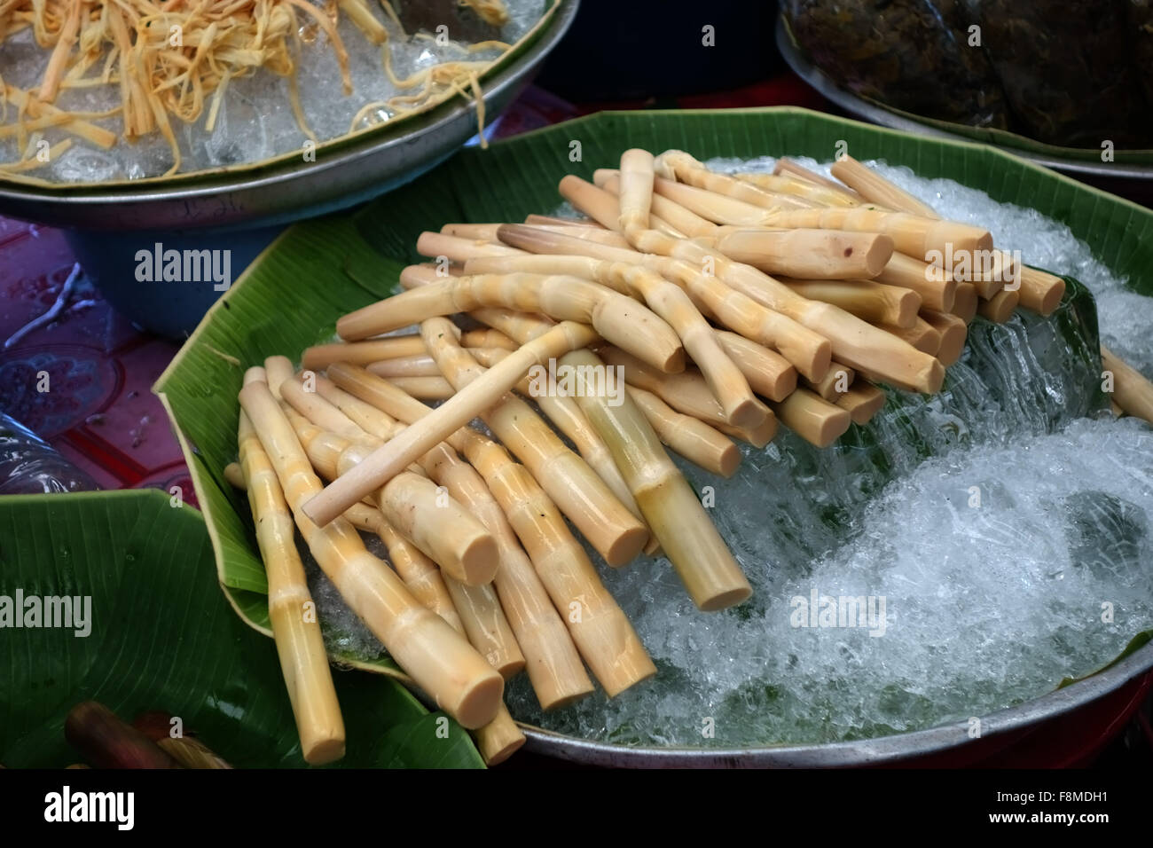 Bamboo shoots on ice prepared for sale in a covered market in ther centre of Bangkok, Thailand, February - Stock Image