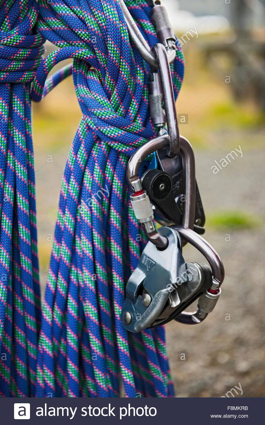Rope and belay device at high rope access course, Iceland - Stock Image