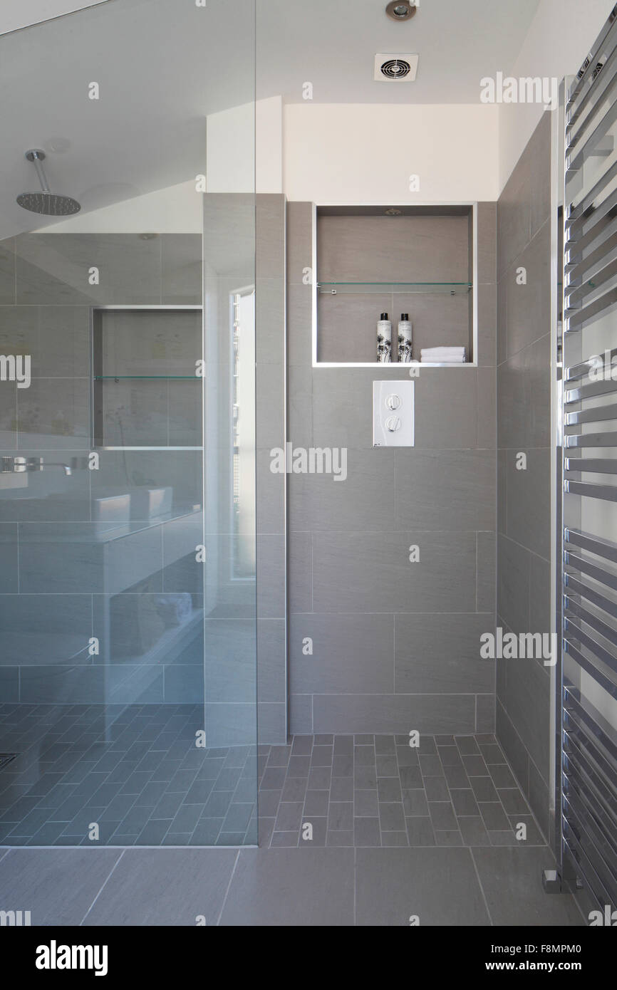 Shower cubicle with lights off - Stock Image