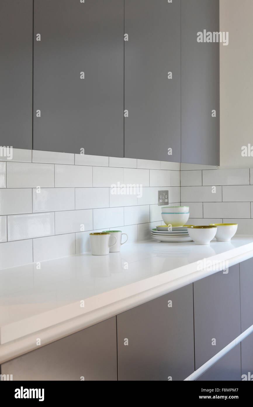 Crockery on kitchen worktop - Stock Image