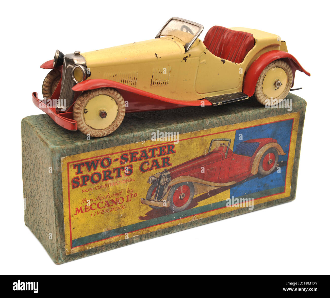 Children's Meccano tin plate clockwork Sports Car toy - Stock Image
