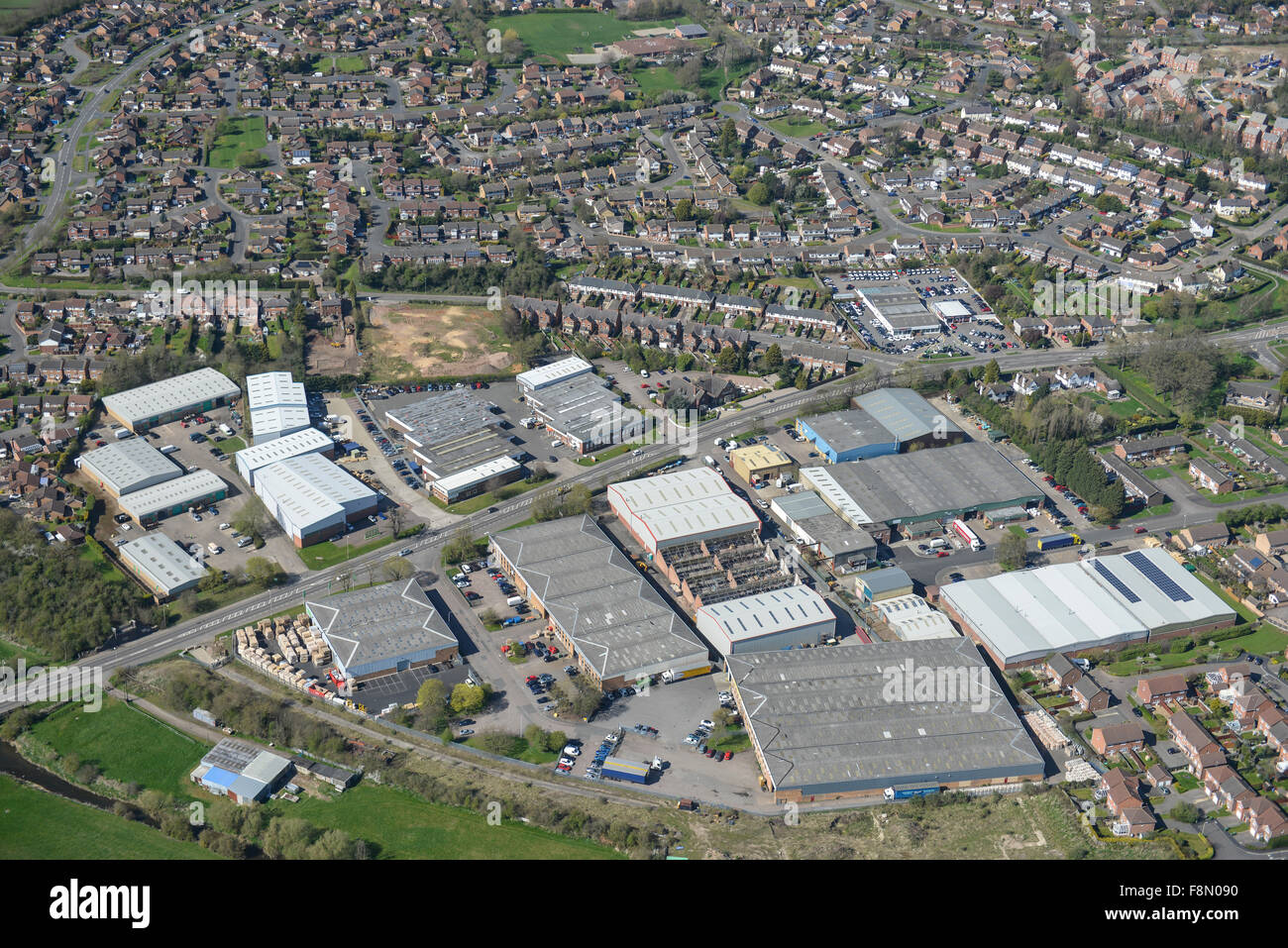 An aerial view of the Oaks Industrial Estate in Narborough, Leicestershire - Stock Image