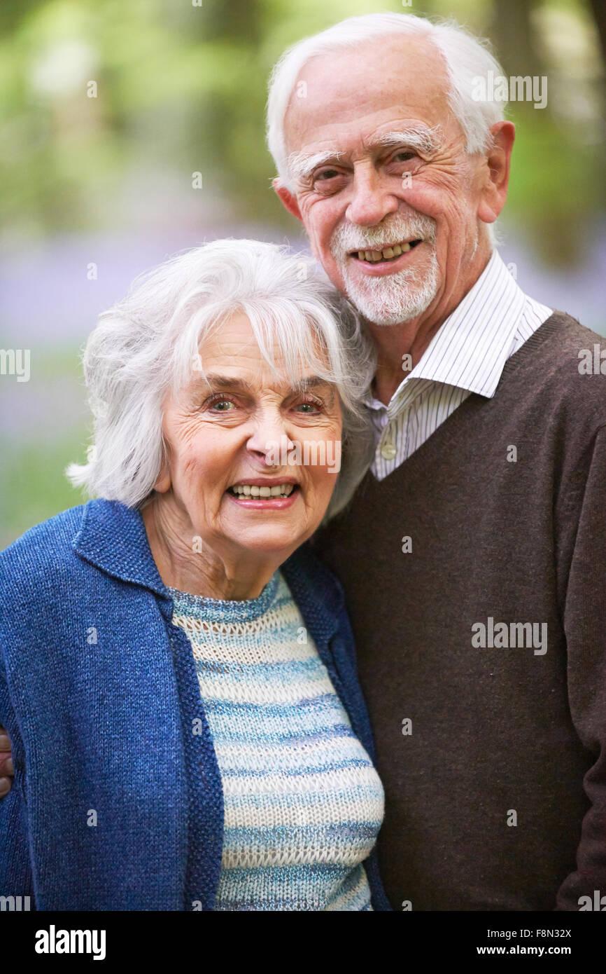 Outdoor Portrait Of Happy Senior Couple - Stock Image