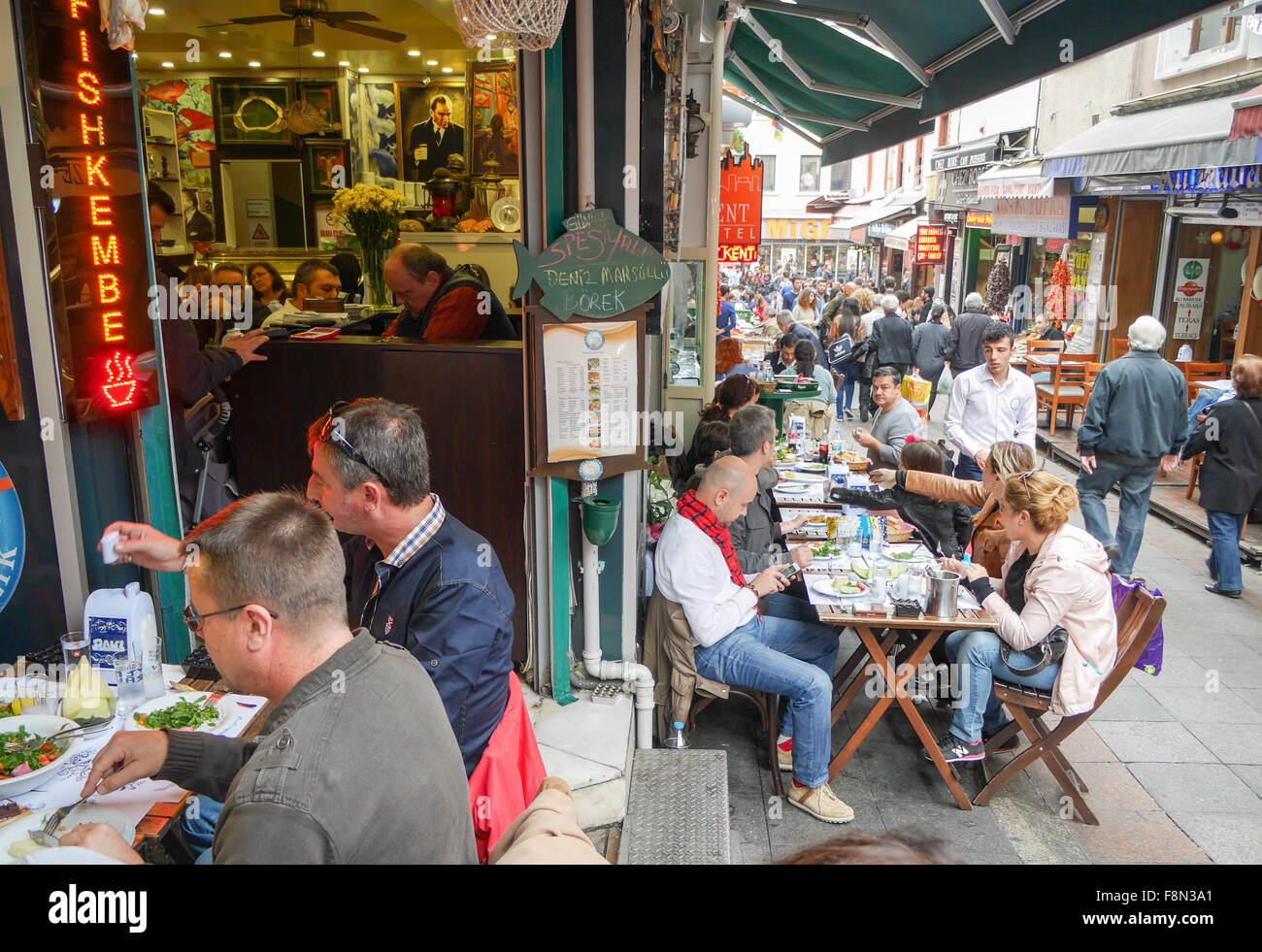 Restaurants in Kadikoy Istanbul Turkey Stock Photo