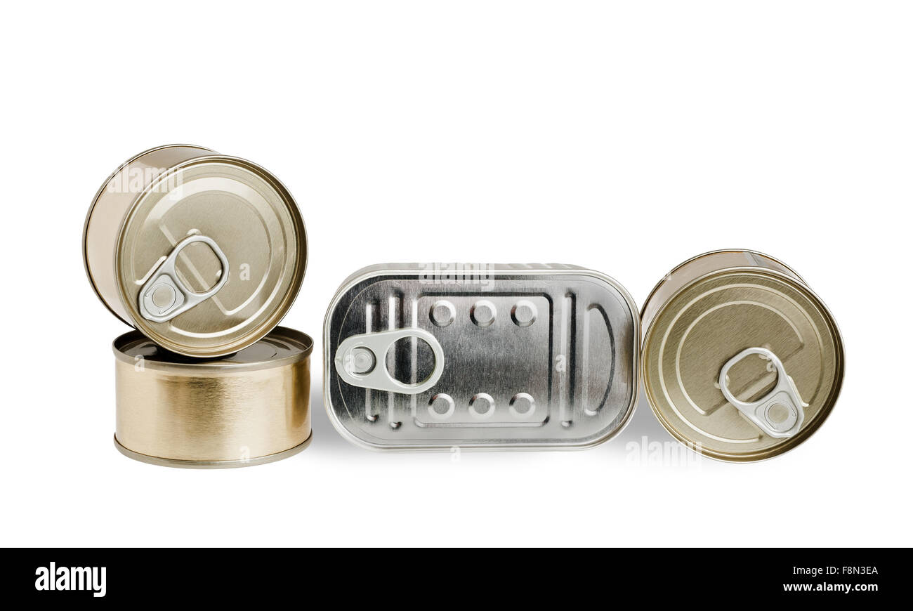 Pile of cans of conserved food over white background - Stock Image