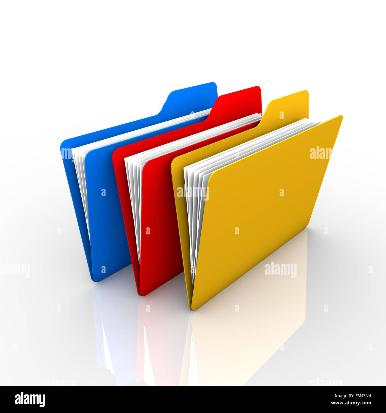 3-color folder, as described in the filing of documents and visual. The presentation and available on the internet - Stock Image
