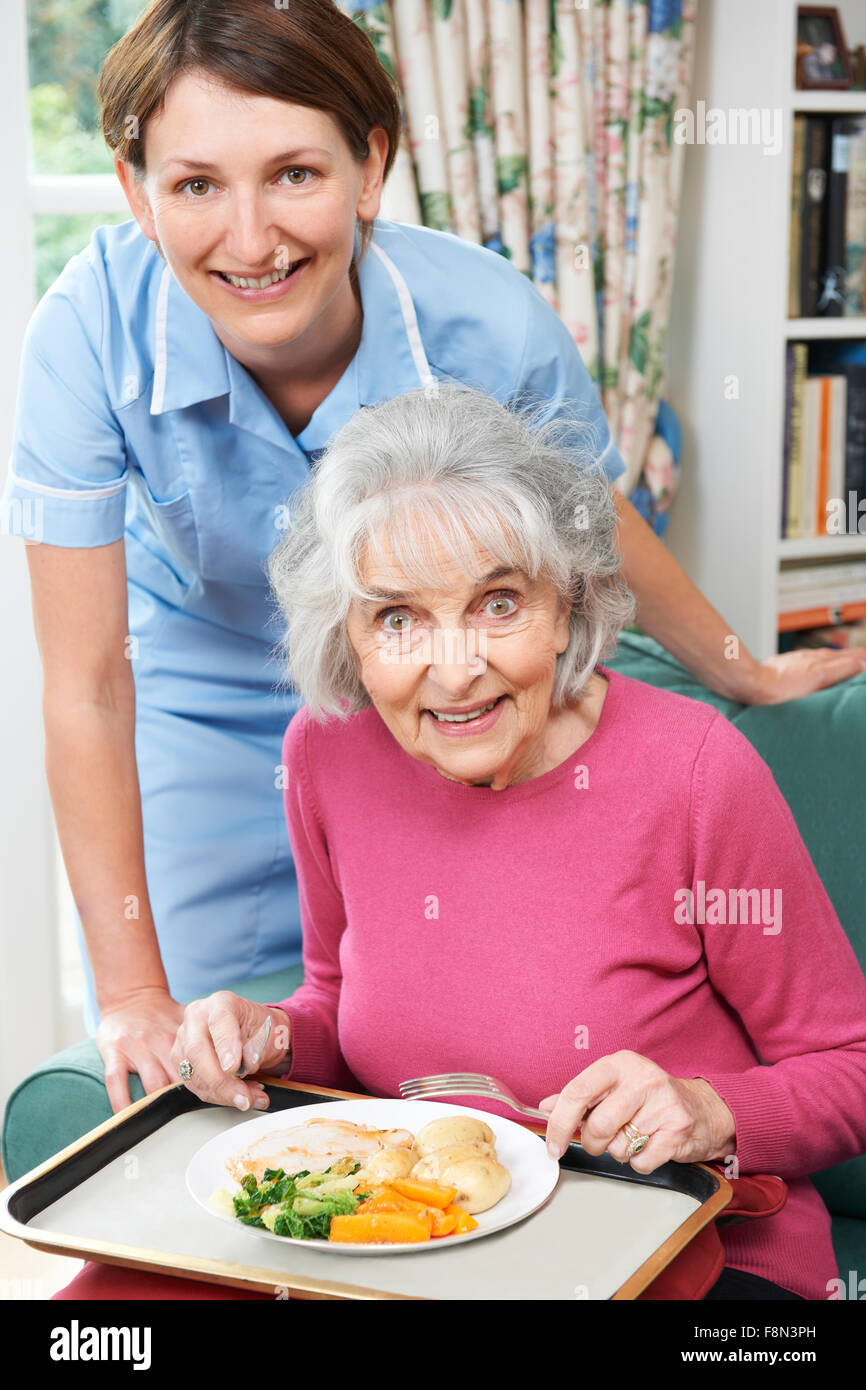 Carer Serving Lunch To Senior Woman - Stock Image