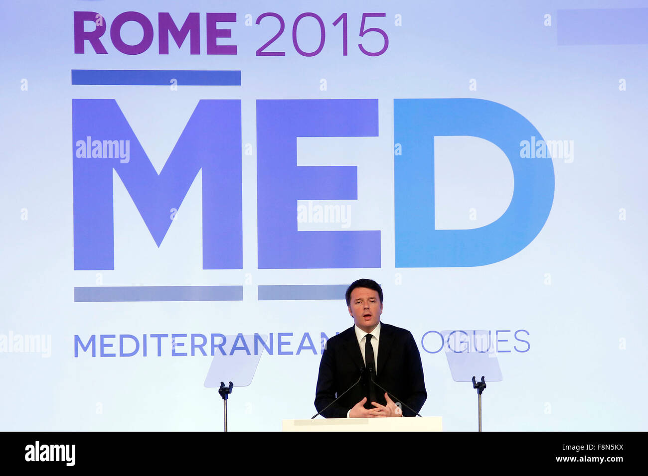 Rome, Italy. 10th December, 2015. Matteo Renzi Parco dei Principi Hotel  Forum Med 2015, Mediterranean Dialogues. - Stock Image
