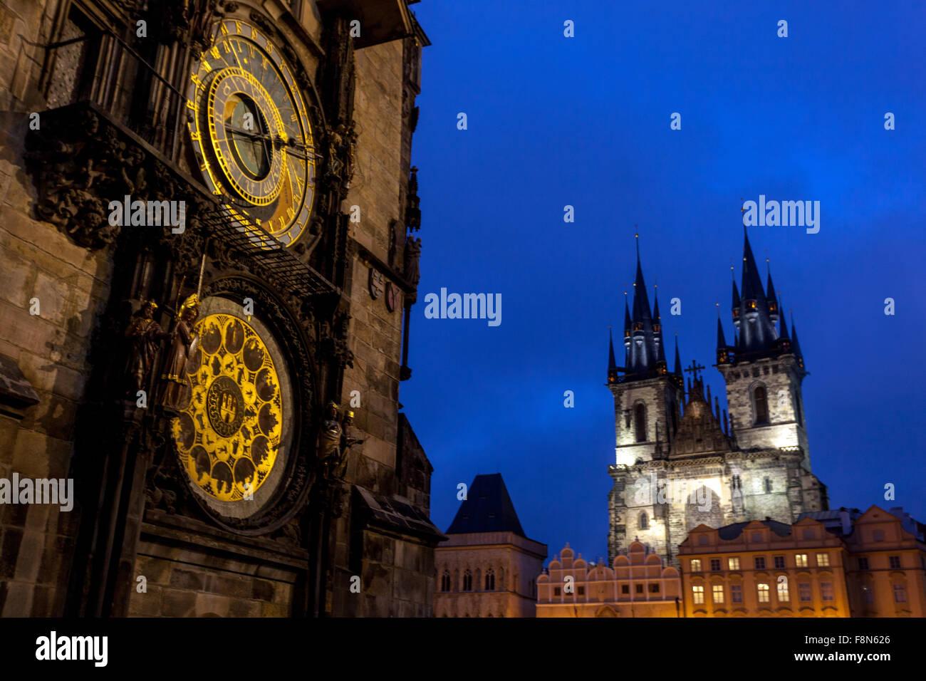 Astronomical Clock, Old Town Square, Tyn Church, Christmas time, Prague, Czech Republic - Stock Image