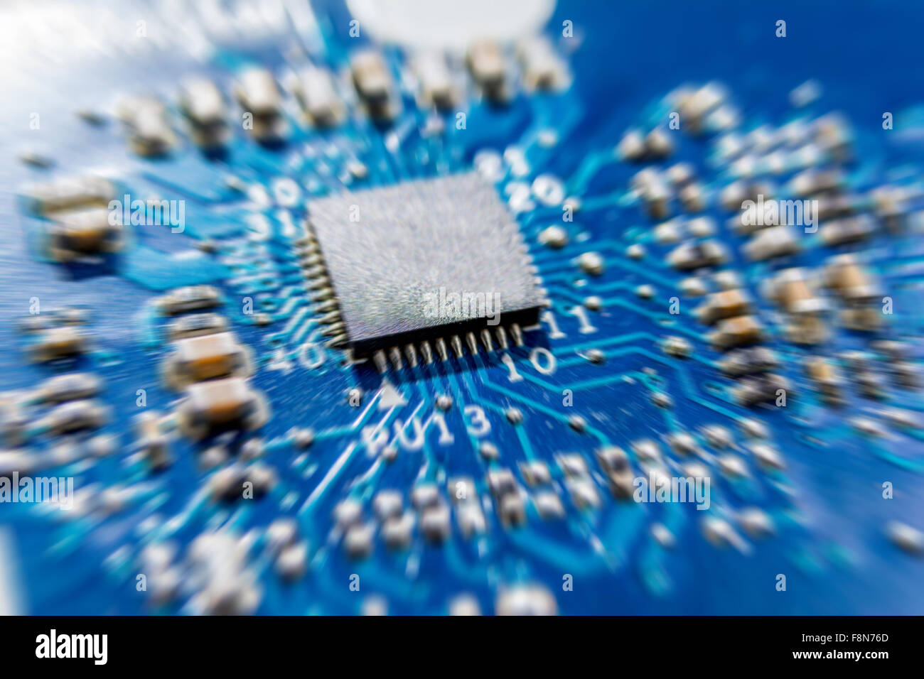 Blue Digital Computer Brain On Circuit Board With Glows And Flares Electronic Stock Photos Image 5268093