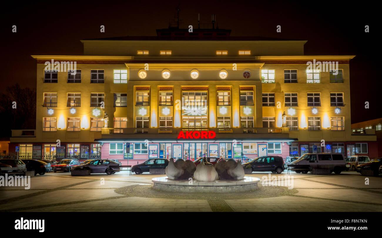 Squere SNP Ostrava at night - Stock Image