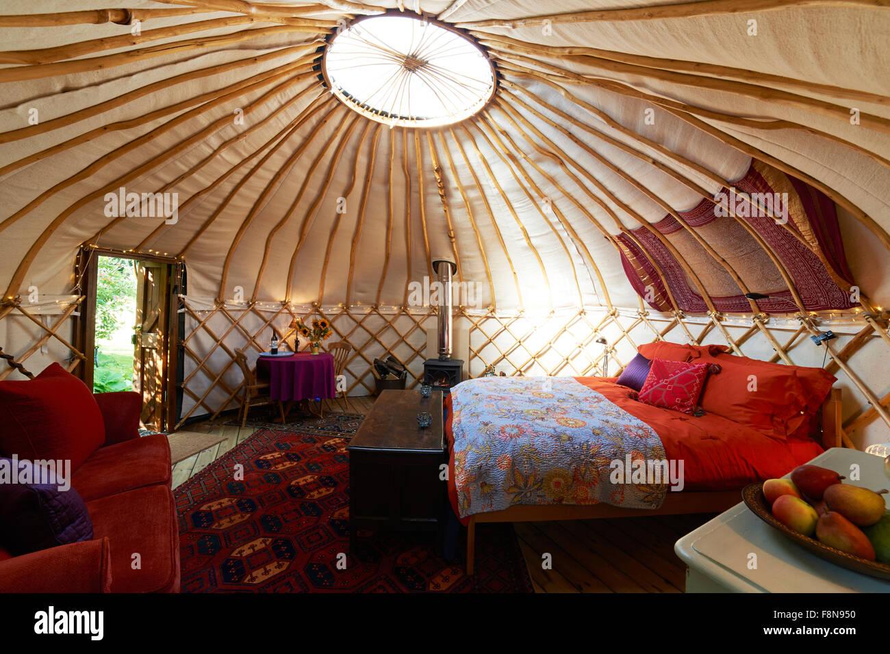 Interior Of Empty Holiday Yurt - Stock Image