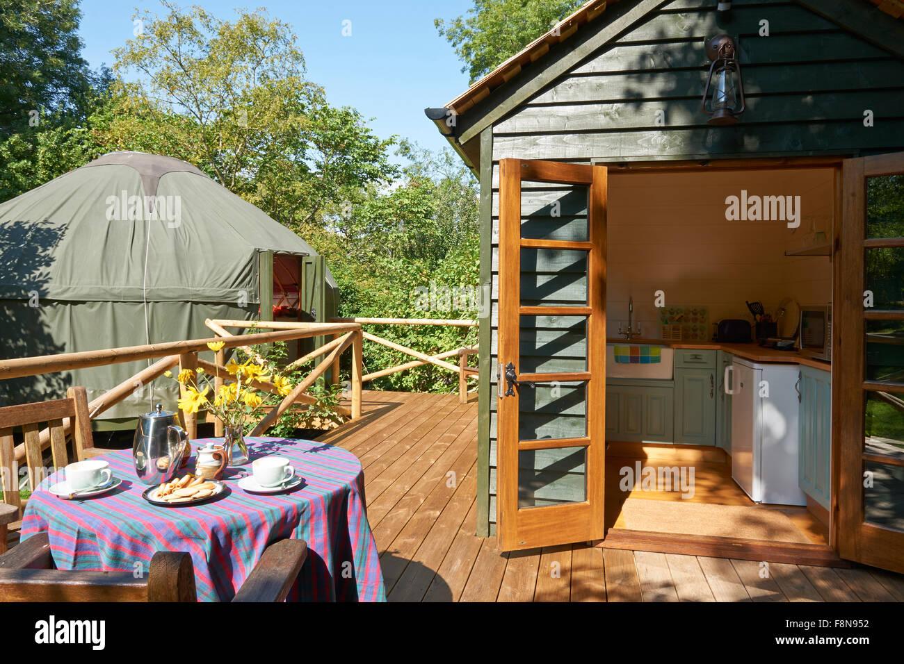 Exterior Of Beautiful Holiday Yurt - Stock Image