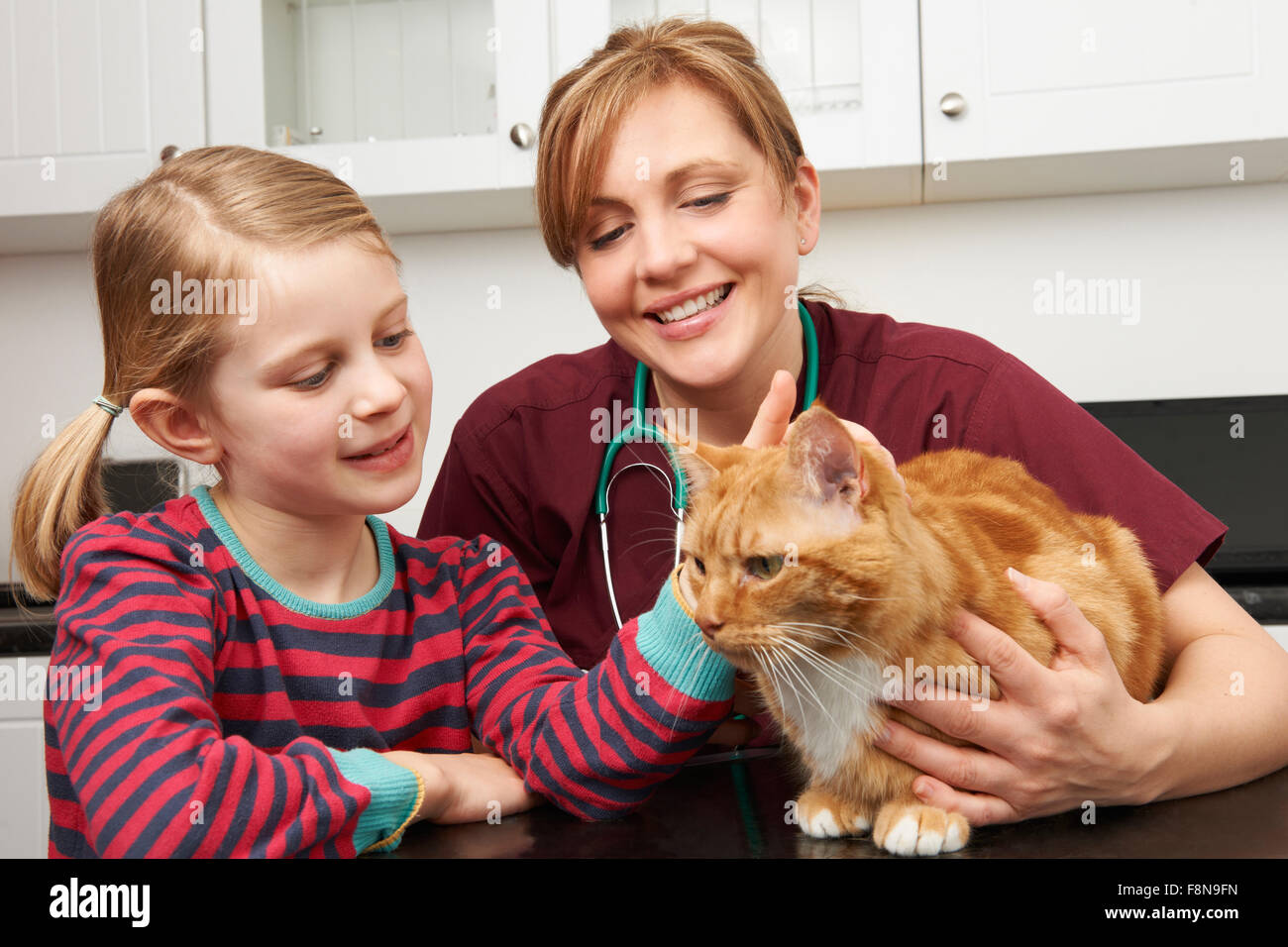 Girl Taking Pet Cat To Vet For Examination - Stock Image