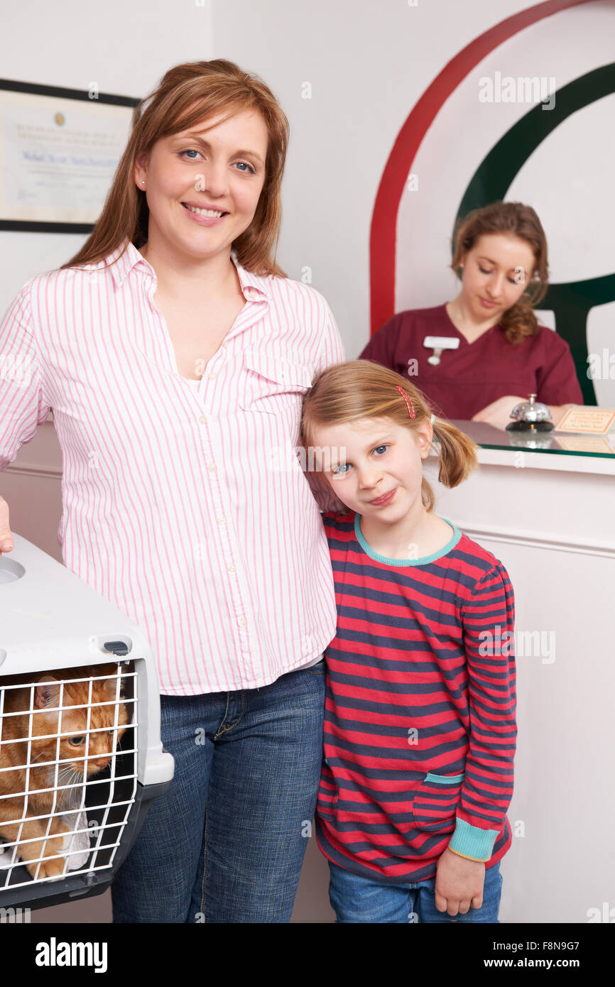 Mother And Daughter Taking Cat To Vet - Stock Image