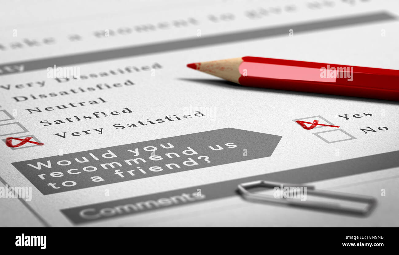 Paper survey document with a red wooden pencil. Very positive customer feedback with recommendation to a friend - Stock Image