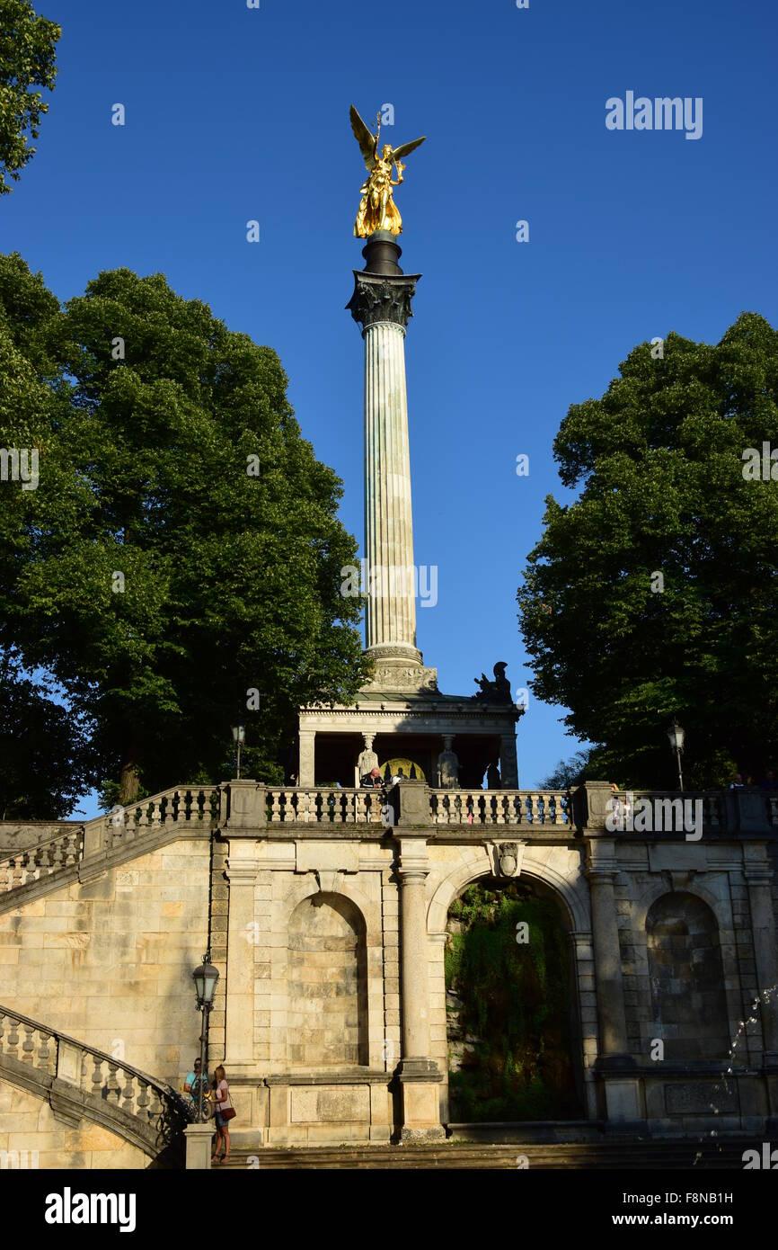 Munich, Germany - gilded statue called PEACE ANGEL (German FRIEDENSENGEL) Stock Photo