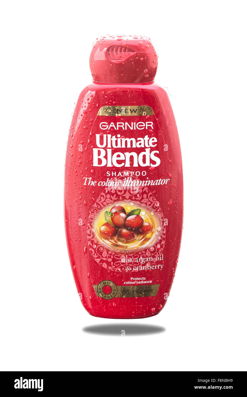Garnier Ultimate Blends Shampoo With Argan Oil and Cranberry on a White Background. - Stock Image