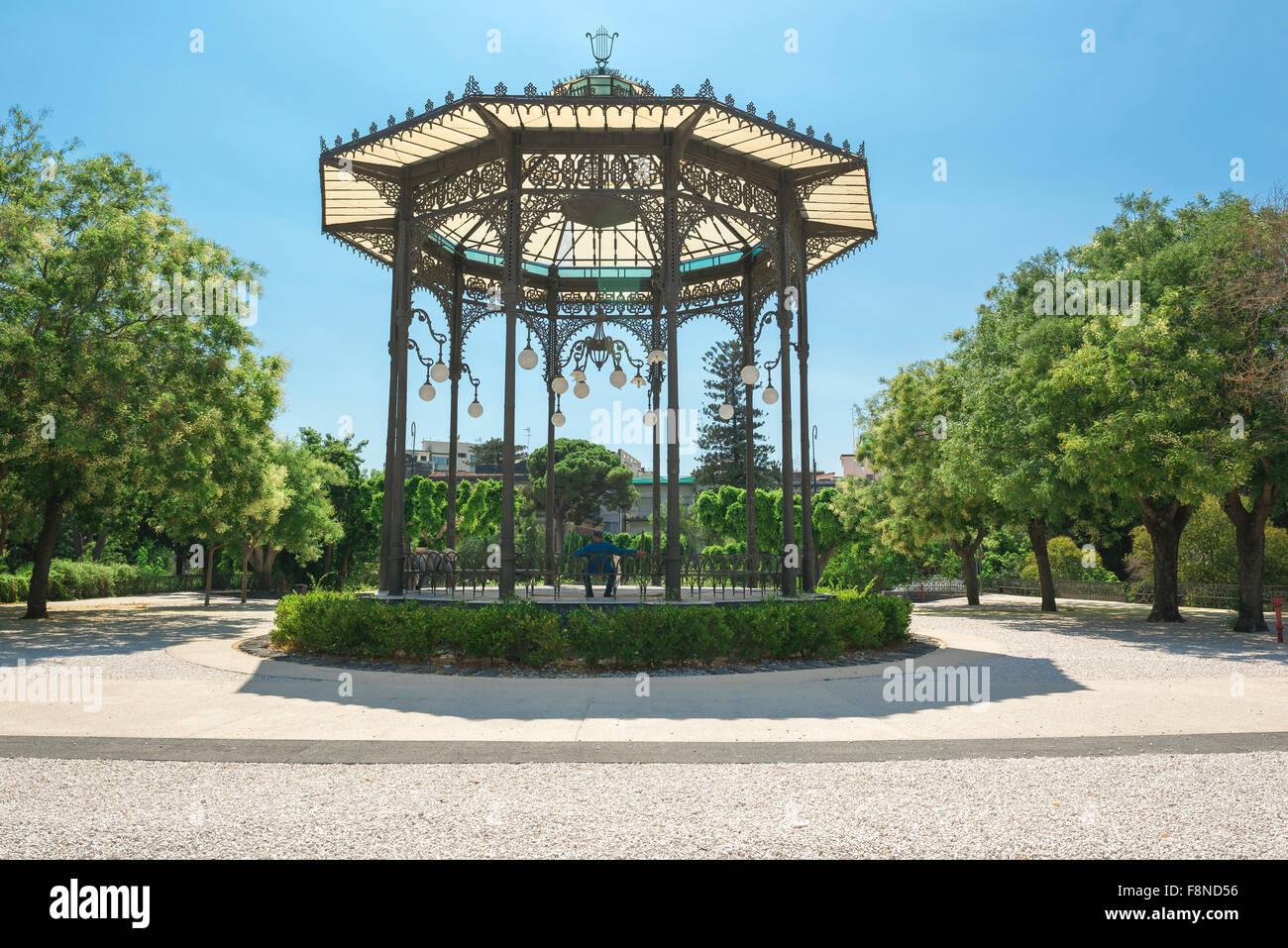 Band stand summer, view of the bandstand in the Villa Bellini, the largest park and garden in Catania, Sicily. - Stock Image