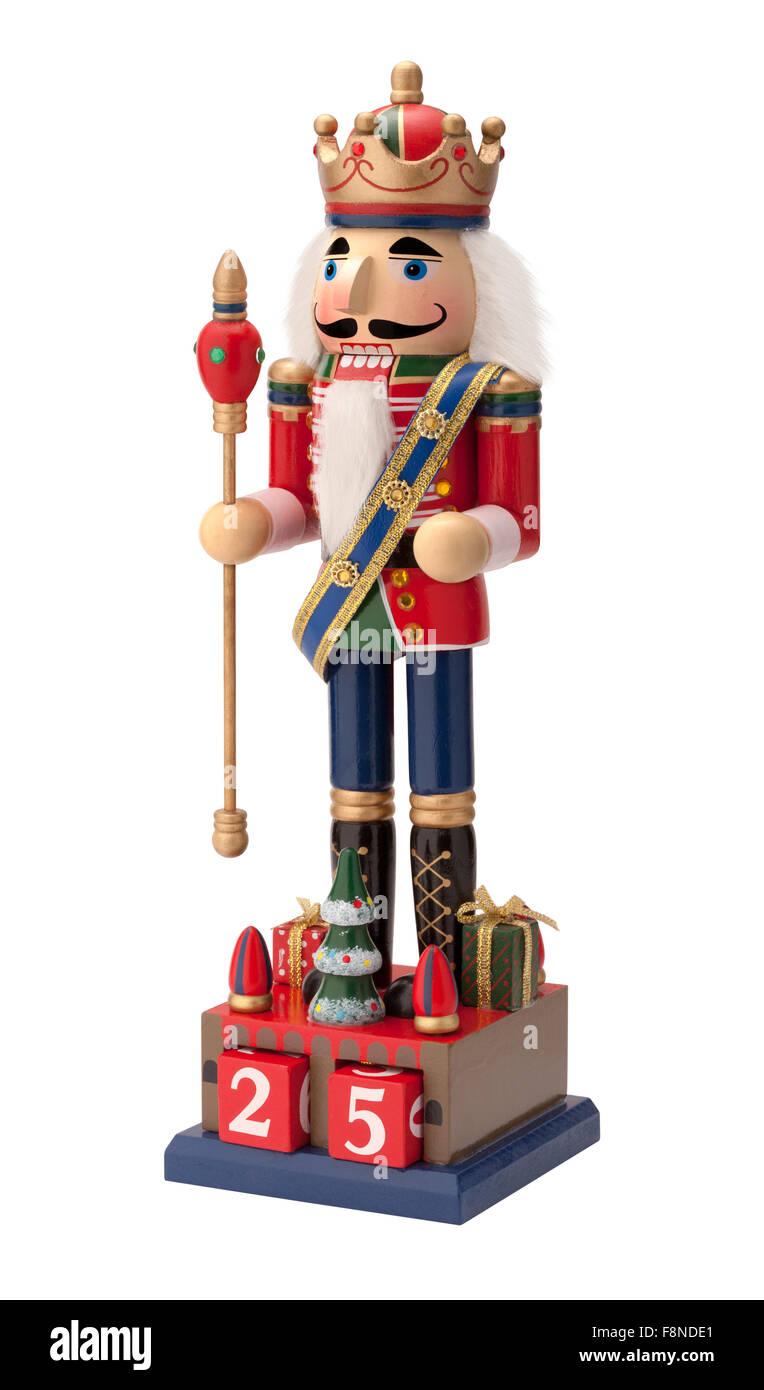 Antique Christmas Royal Nutcracker holding a scepter - Stock Image