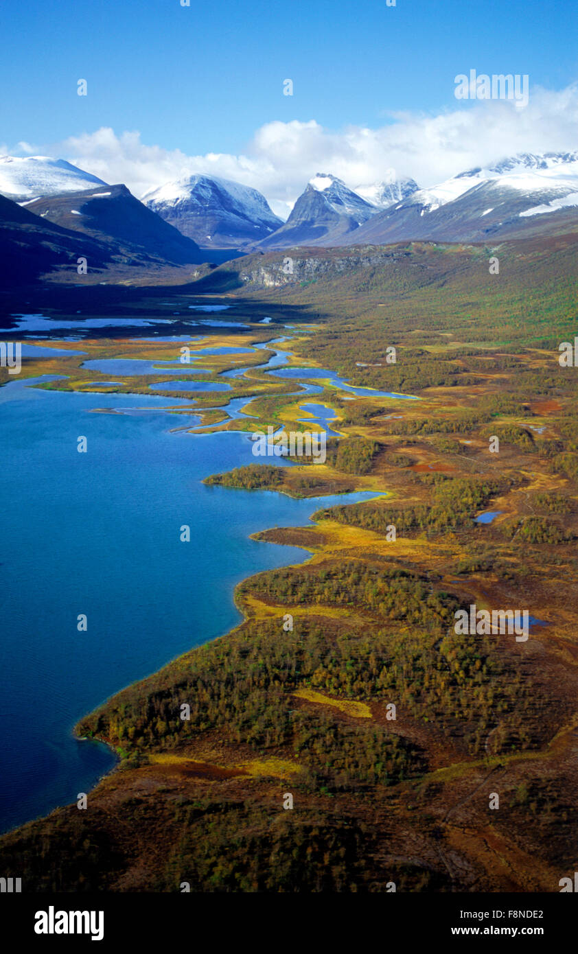 Aerial view of Latjovagge valley with lakes and river below Kebnekaise Mountains in Swedish Lapland - Stock Image