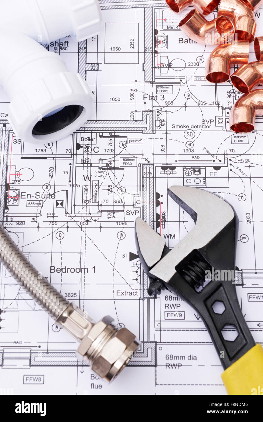 Plumbing Components On House Plans - Stock Image