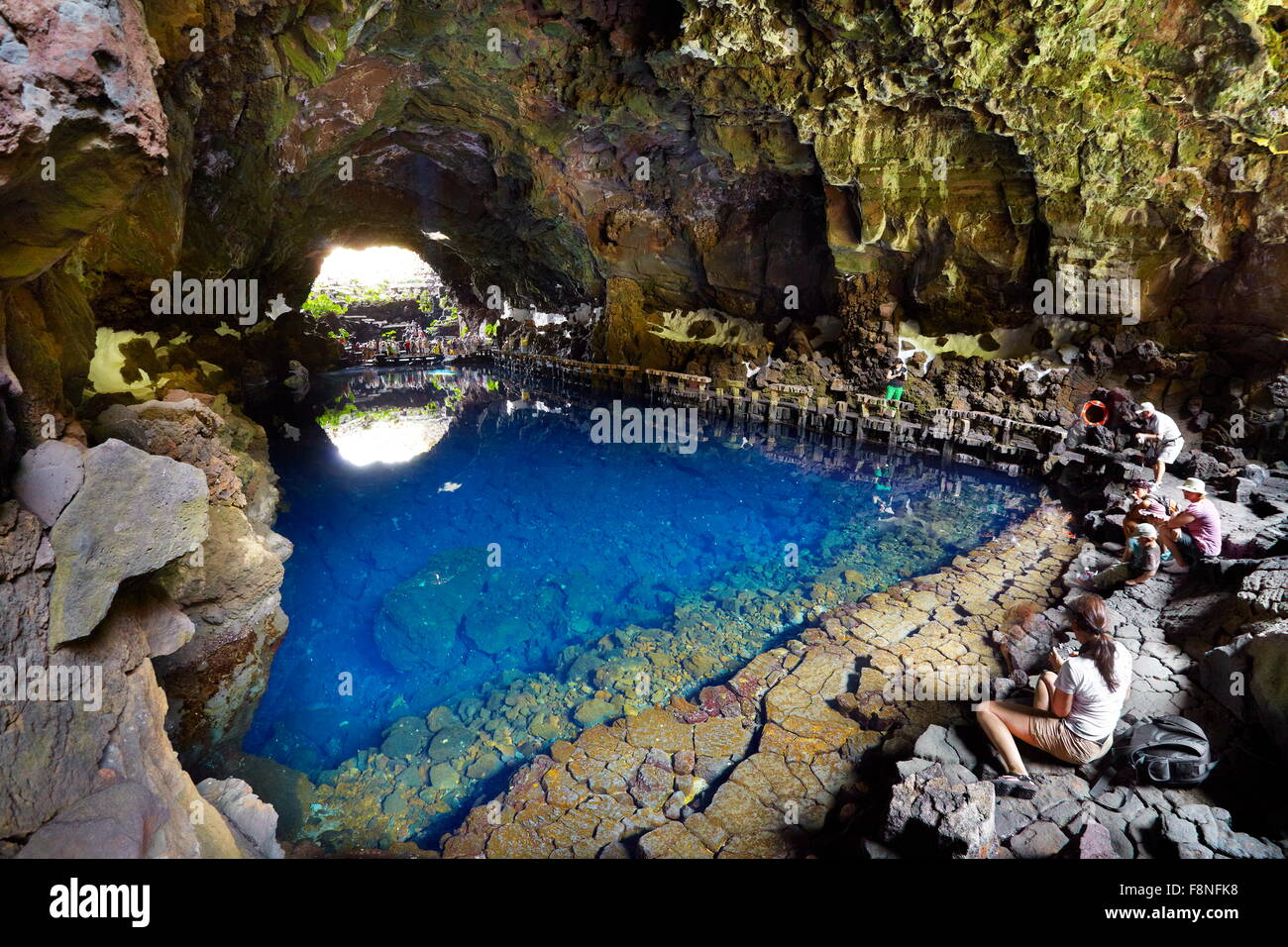 Lanzarote Island, Jameos del Aqua, underground lake in volcanic cave, Canary Islands, Spain - Stock Image