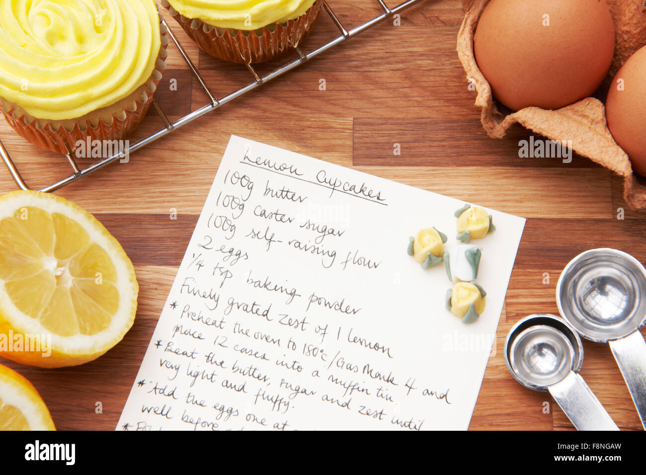 Recipe For Lemon Cupcakes With Ingredients - Stock Image