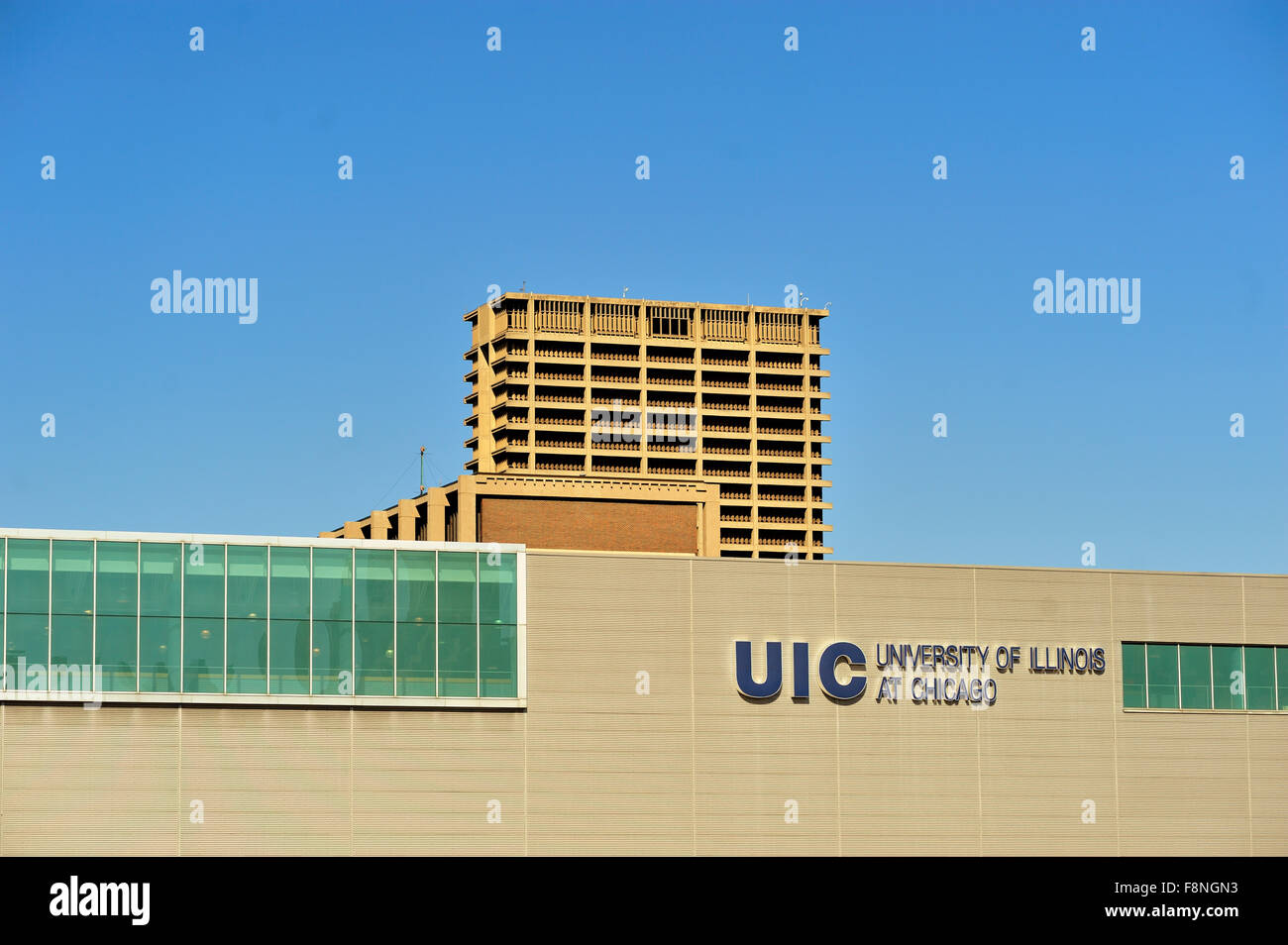 The University of Illinois at Chicago, so named since 1982, is located just southwest of the Loop. Chicago, Illinois, - Stock Image