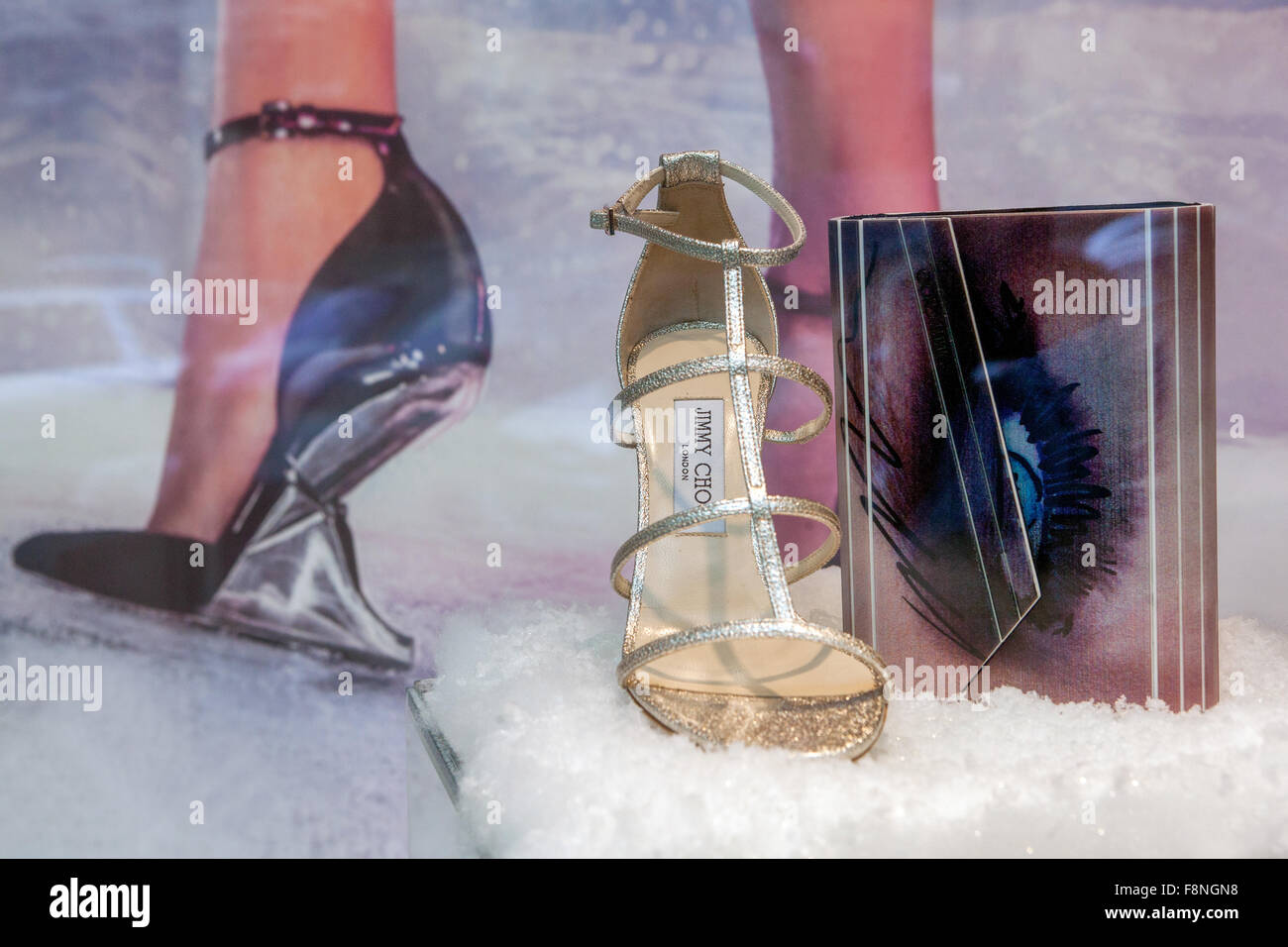 Jimmy Choo high heels, shoes, luxury store, window display in Parizska street, Prague shopping, Czech Republic - Stock Image