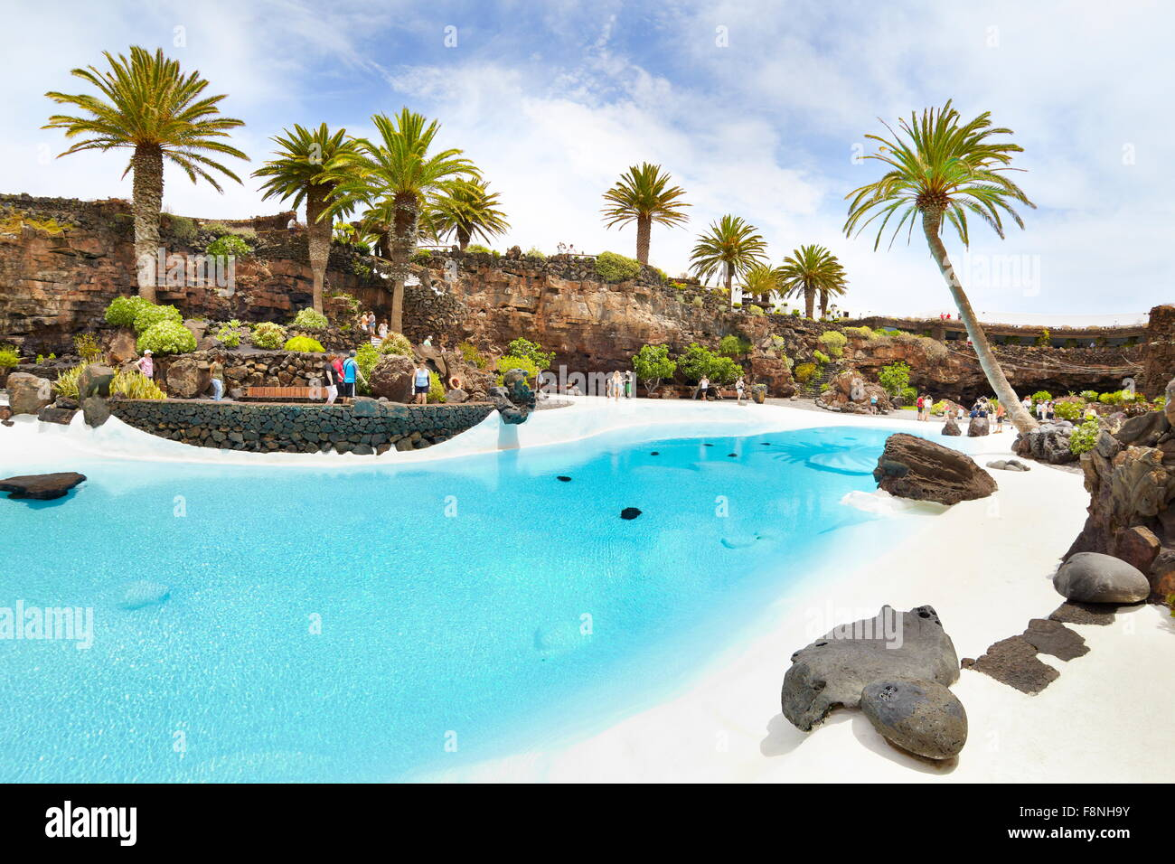 Lanzarote, blue pool in Jameos del Aqua, Spain, Canary Islands - Stock Image