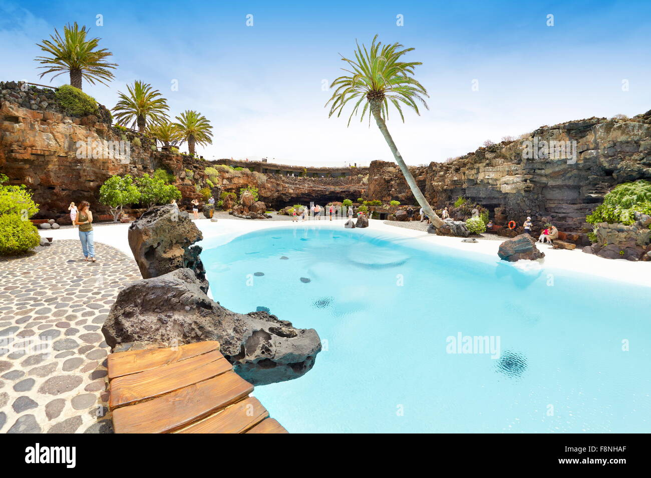 Lanzarote Island, blue pool in Jameos del Aqua, Spain, Canary Islands - Stock Image