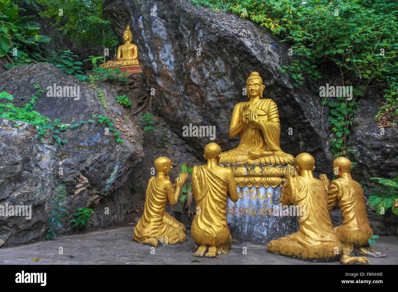 Buddha and his disciples, Buddha statue on Phousi Mountain, Luang Prabang, Laos, Indochina, Asia Stock Photo