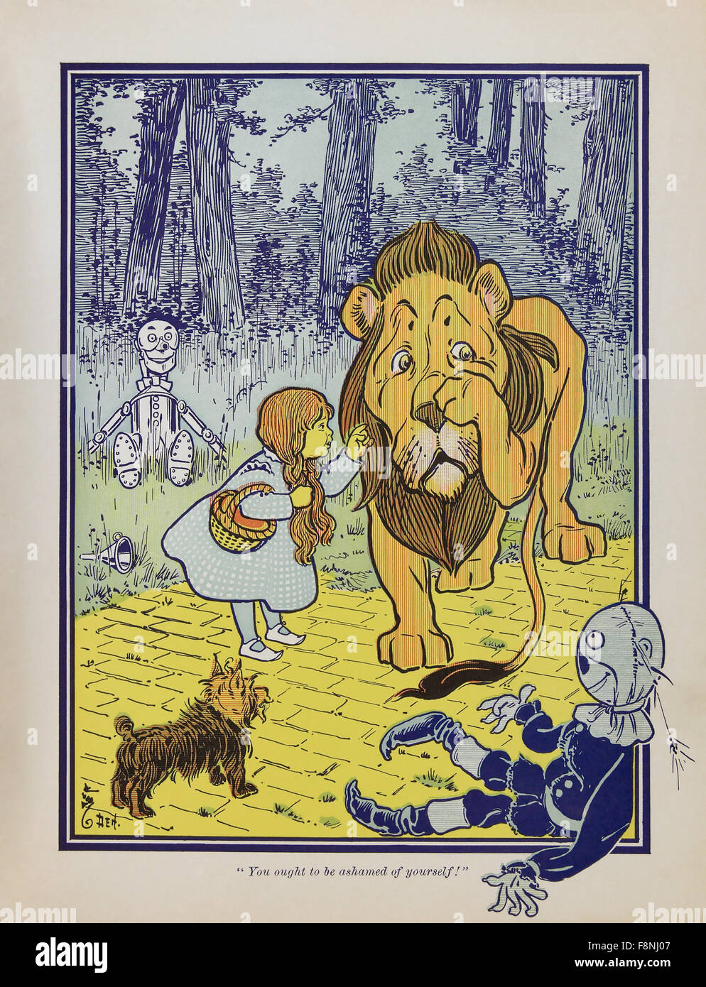 THE WONDERFUL WIZARD OF OZ  Dorothy meets the Cowardly Lion drawn for the first edition in 1900 of the book by Frank - Stock Image