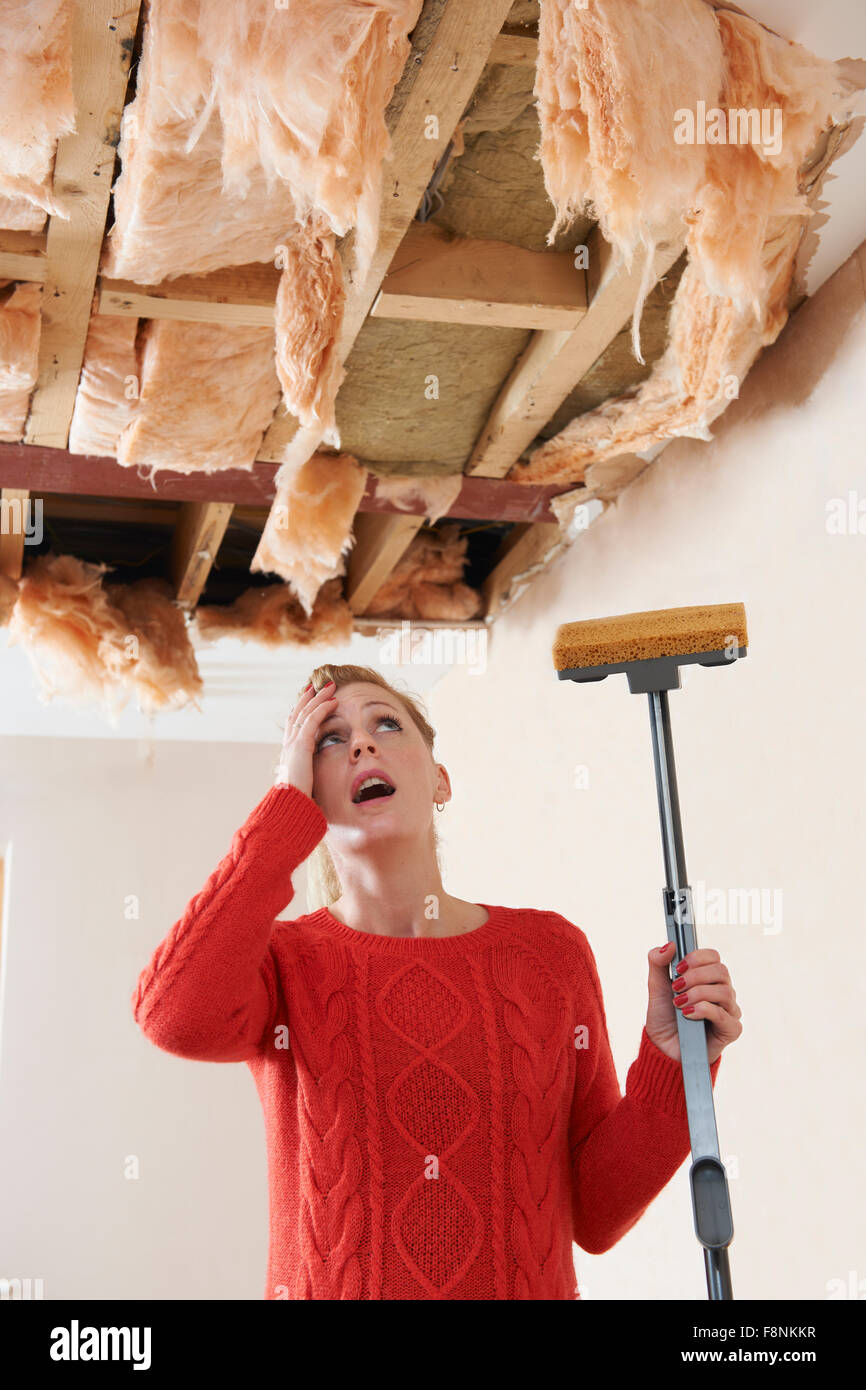 Woman Holding Mop Under Damaged Ceiling - Stock Image