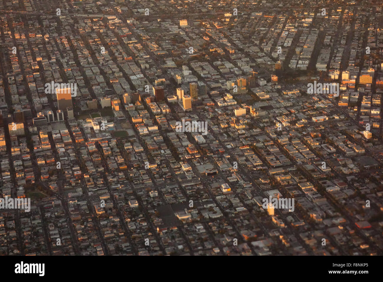 urban sprawl of city of Los Angeles from the air Southern California USA - Stock Image